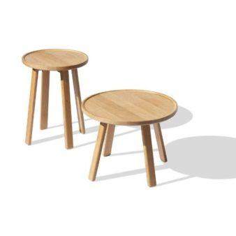MSM Tisch Modell Marie Beistelltisch in zwei Größen aus massiver Eiche mit runder Platte