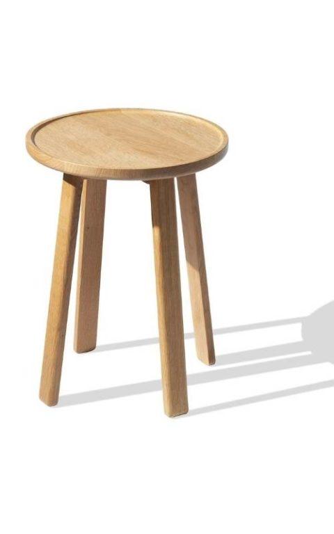 MSM Tischmodell Marie Beistelltisch aus massiver Eiche mit runder Platte