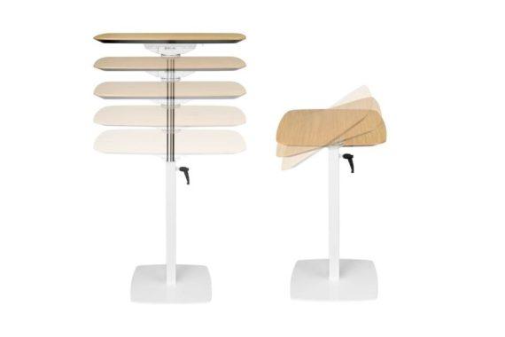 MSM work table 3 Beistelltisch Gestell weiß Tischplatte Holz höhenverstellbar und Tischplatte klappbar