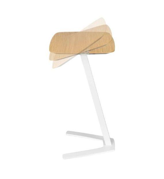 MSM work table 4 Beistelltisch Gestell weiß Tischplatte Holz drehbar und klappbar