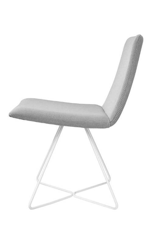 MSM Loungestuhl FF12 grau gepolstert weißes Gestell