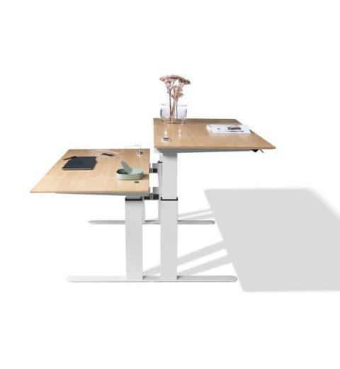 MSM Worktable 1, Schreibtisch mit zwei Arbeitsplätzen, höhenverstellbar, Gestell weiß, Tischplatten Holz
