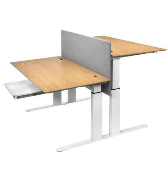 MSM Worktable 1, Schreibtisch mit zwei Arbeitsplätzen, höhenverstellbar, mit Trennwand, Gestell weiß, Tischplatten Holz