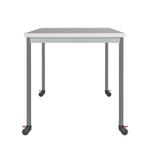 MSM Tisch 204 Gestell auf Rollen, Chrom, Tischplatte weiß