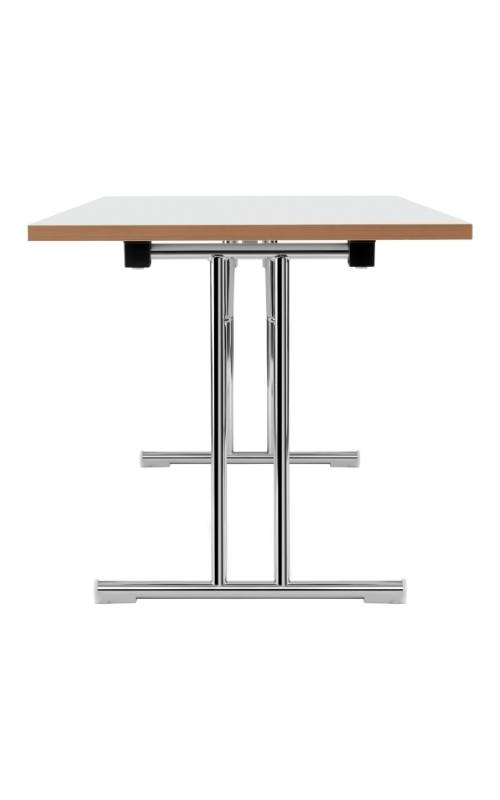 MSM Tisch Modell 211 klappbar von der Seite Gestell Chrom Tischplatte weiß beschichtet