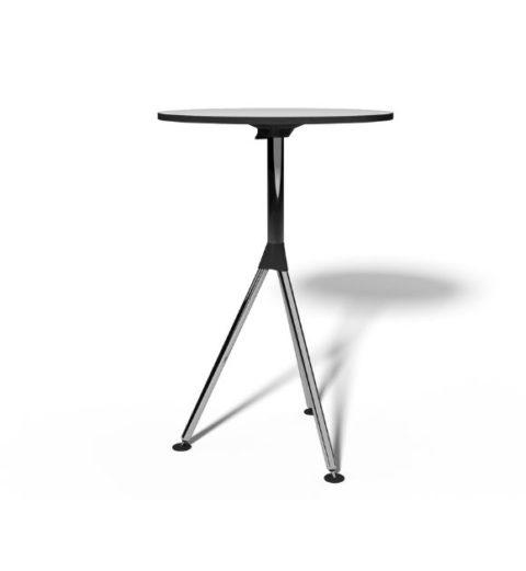 MSM Stehtisch, Bistrotisch, Gestell Chrom, Tischplatte rund und weiß