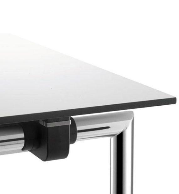 MSM Tisch Modell 224 weiße Tischplatte, Kante schwarz, Gestell Chrom, klappbar