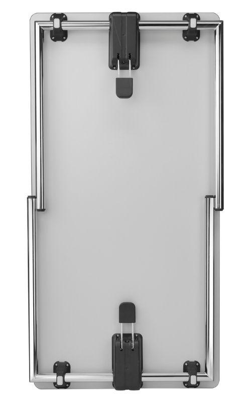 MSM Tisch Modell 224 weiße Tischplatte, Gestell Chrom, klappbar, Ansicht von unten, eingeklappt