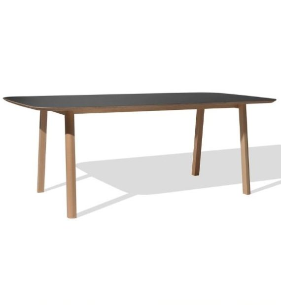 MSM Holztisch Lotte, massive Eiche, große Tischplatte schwarz beschichtet