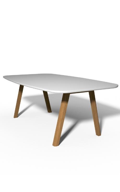 MSM Holztisch Lotte, massive Eiche, große Tischplatte weiß