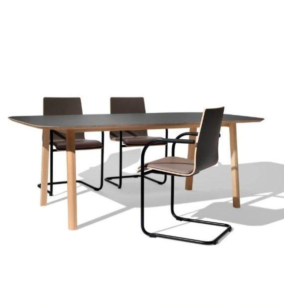 MSM Holztisch Lotte, massive Eiche, große Tischplatte schwarz beschichtet, mit MSM Stuhl Freischwinger Genius