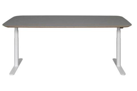 MSM Tisch Lotte Lift, Schreibtisch höhenverstellbar, Gestell weiß, Tischplatte matt grau beschichtet