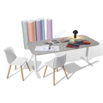 MSM Tisch Lotte Lift, Schreibtisch höhenverstellbar, Gestell weiß, Tischplatte matt grau beschichtet, MSM Stuhl FF3