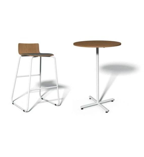 MSM Stehtisch 508, Gestell weiß, Tischplatte rund, aus Holz mit Barhocker