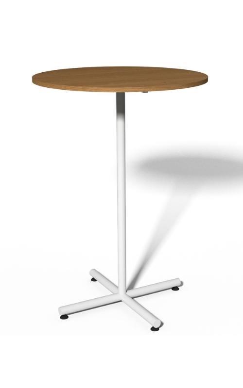 MSM Stehtisch 508, Bistrotisch, Gestell weiß, Tischplatte rund, aus Holz