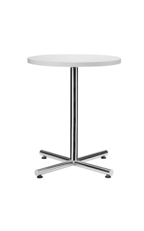 MSM Tisch 508, Bistrotisch, Gestell Chrom, Tischplatte rund, weiß