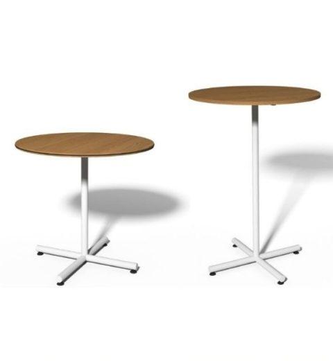 MSM Stehtisch 508, Gestell weiß, Tischplatte rund, aus Holz in zwei Höhen