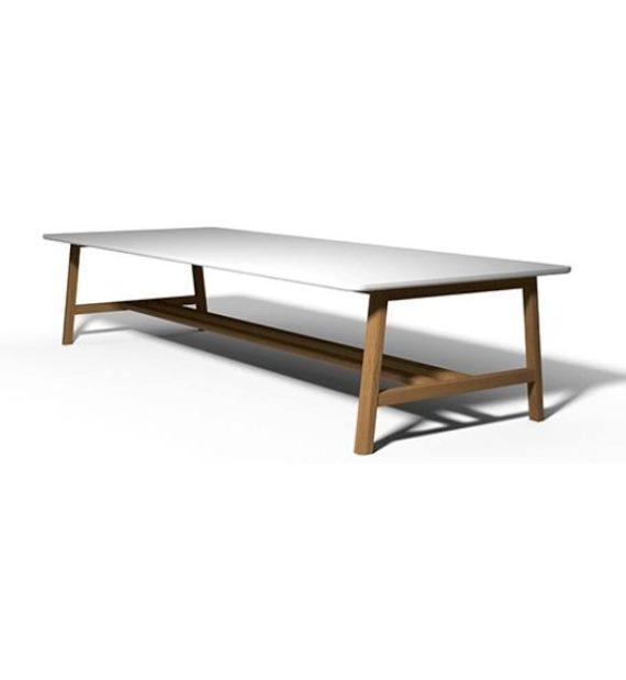 MSM großer Konferenztisch Hans mit Holzgestell und weißer Tischplatte