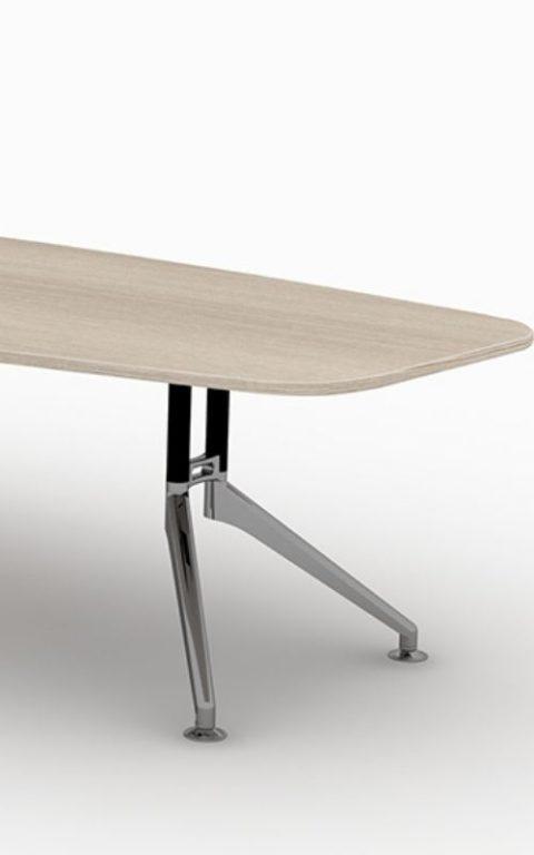 MSM Konferenztisch Gestell Chrom Tischplatte Holz