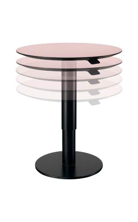 MSM work table 2 Beistelltisch Gestell schwarz Tischplatte rose beschichtet höhenverstellbar