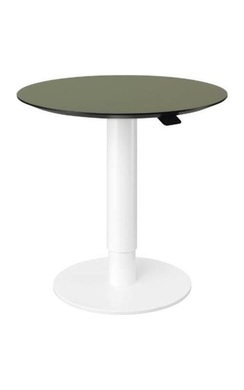 MSM work table 2 Beistelltisch Gestell weiß Tischplatte olivgrün beschichtet höhenverstellbar