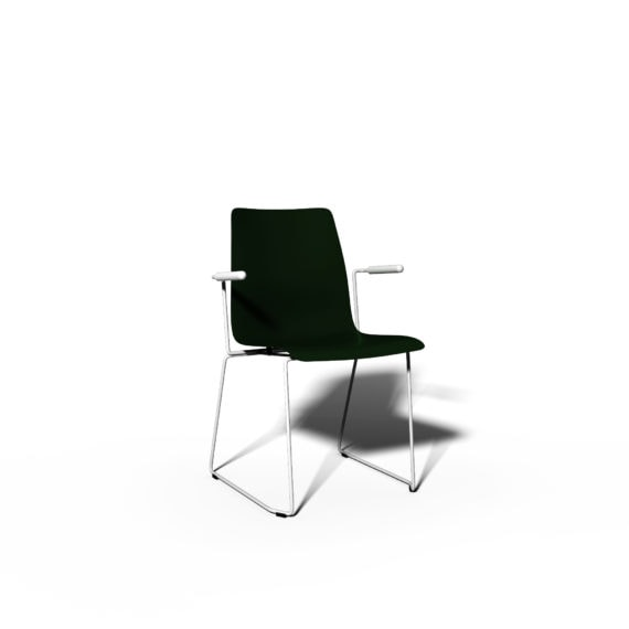 MSM Stapelstuhl Classic Modell 3314 PP grüne Sitzschale Gestell weiß Armlehnen