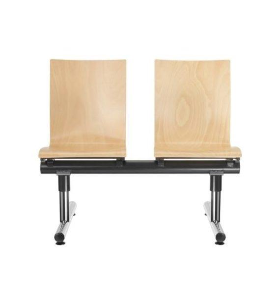 MSM Traversenbank Bench Modell 3151 Sitze aus Holz Gestell Chrom