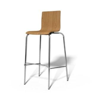 MSM Barhocker Modell 3352 bar Holzschale und Gestell chrom