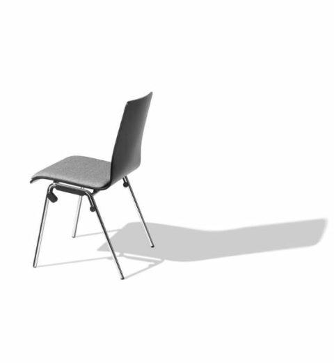 MSM Stapelstuhl Genius schwarz graues Sitzpolster Rückansicht