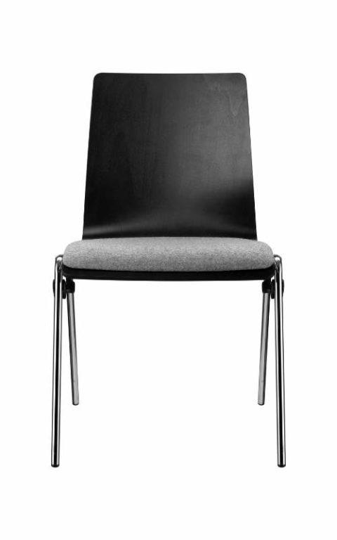 MSM Stapelstuhl Genius schwarze Sitzschale Polster grau Sitzfläche
