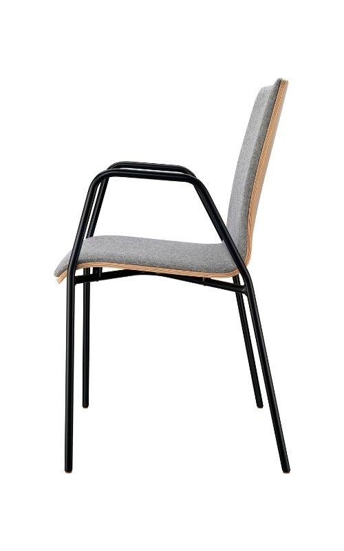 MSM Stapelstuhl 3352 Sitzschale vorne grau gepolstert Gestell schwarz
