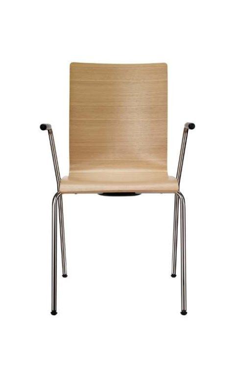 MSM Stapelstuhl 3352 Sitzschale Edelfurnier Gestell Chrom mit Armlehne