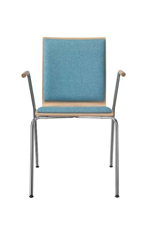 MSM Stapelstuhl 3352 Sitzschale gepolstert Gestell Chrom mit Armlehne