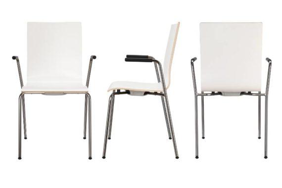 MSM Stapelstuhl 3352 Sitzschale weiß Gestell Chrom mit Armlehne