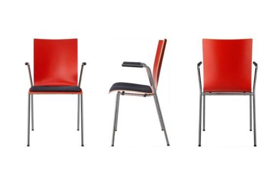 MSM Stuhl 3420 Sitzschale rot gebeizt, schwarzes Sitzpolster, Armlehne