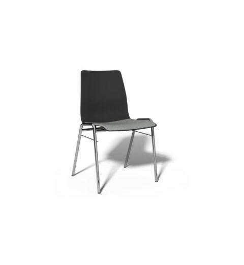 MSM Stuhl Classic Modell 3114 PP mit schwarzer Sitzschale Gestell Chrom und Sitzpolster grau