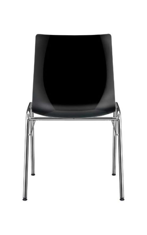 MSM Stuhl Classic Modell 3114 PP Sitzschale schwarz Gestell chrom Ansicht von hinten