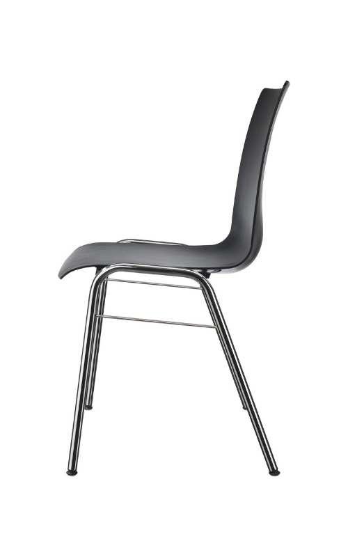 MSM Stuhl Classic Modell 3114 PP Sitzschale schwarz Gestell chrom seitliche Ansicht