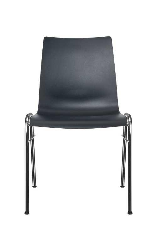 MSM Stuhl Classic Modell 3114 PP Sitzschale schwarz Gestell chrom Ansicht von vorne