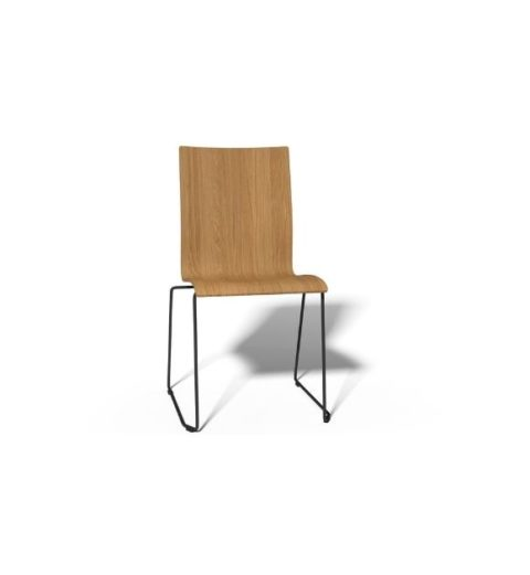 MSM Stuhl 3311 Sitzschale Holz Gestell schwarz