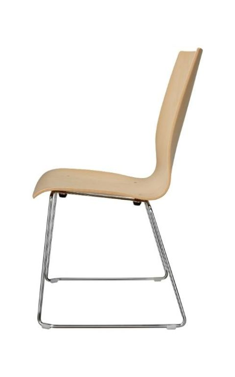 MSM Stuhl 3311 Sitzschale Holz Gestell Chrom