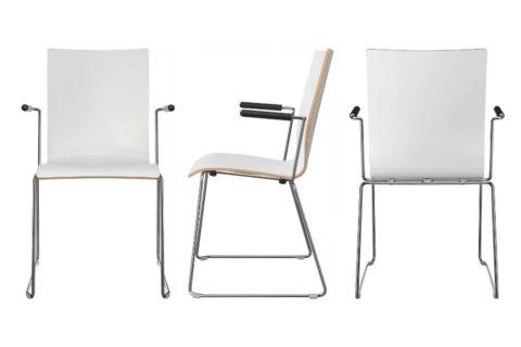 MSM Stuhl 3311 Sitzschale weiß beschichtet Gestell Chrom und Armlehnen