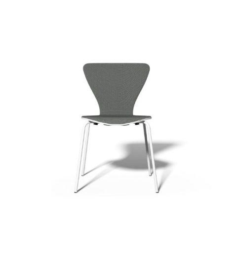 MSM Stapelstuhl Classic Modell 3345 Sitzschale Holz grau Gestell weiß
