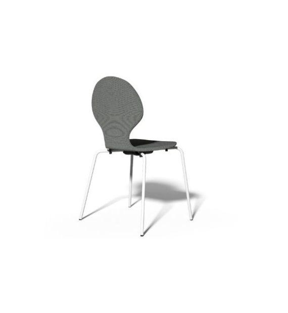MSM Stapelstuhl Classic Modell 3346 Sitzschale Holz grau Gestell weiß