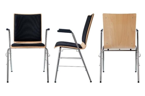 MSM Stapelstuhl Serie 3500 und Sitzschale gepolstert mit Armlehne