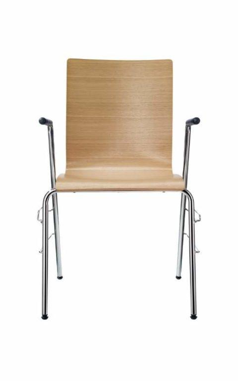 MSM Stapelstuhl Serie 3500 und Sitzschale aus Eiche mit Armlehne