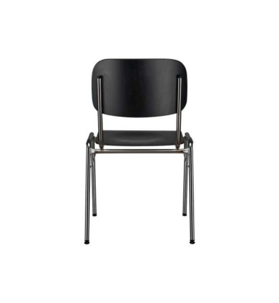 MSM Stapelstuhl 3171 schwarz Sitzfläche und Rücken getrennt Ansicht von hinten