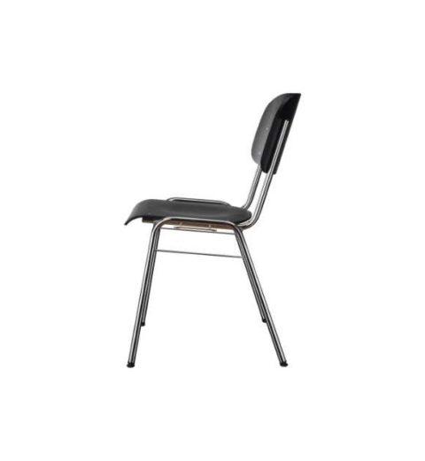 MSM Stapelstuhl 3171 schwarz Sitzfläche und Rücken getrennt Ansicht von der Seite