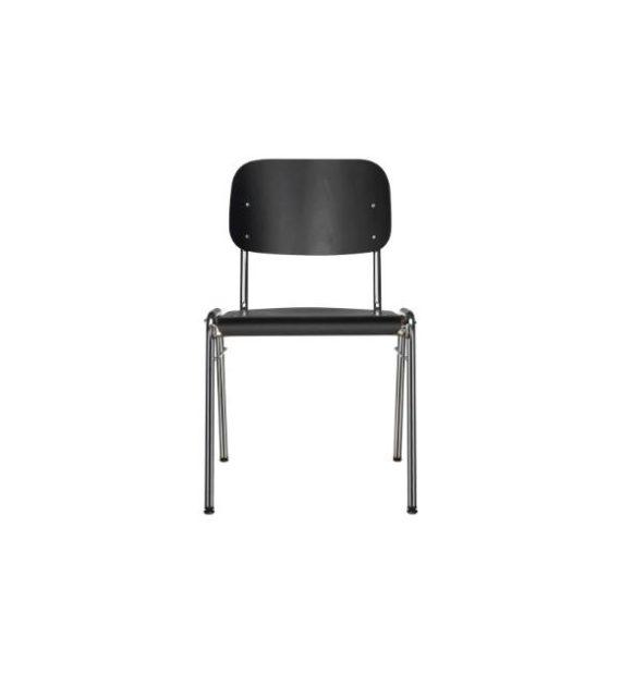 MSM Stapelstuhl 3171 schwarz Sitzfläche und Rücken getrennt Ansicht von vorne