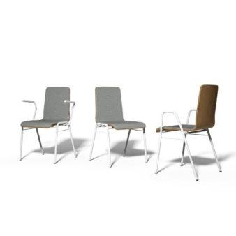MSM Stapelstuhl Serie 3100 4 Fuß in Gruppe mit weißem Gestell und grauer Polsterung der Sitzfläche